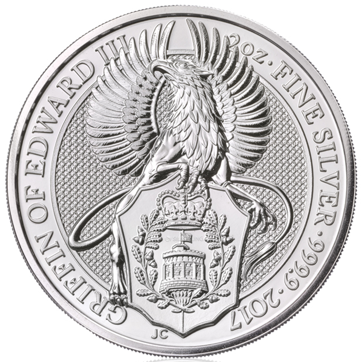 Queen/'s Beast The Griffin 2017 Britain 2 oz Silver Bullion Coin in Capsule