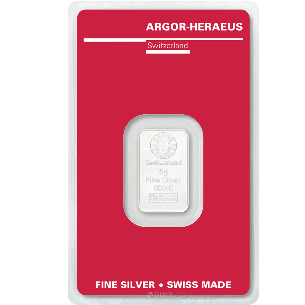 Silver Bars 5 Gram Argor Heraeus Buy Online Silberling De