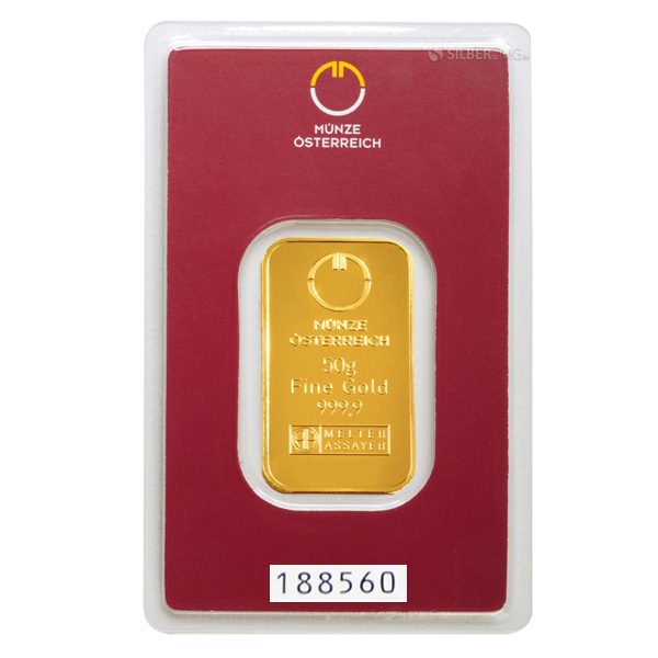 Gold Bar 50 Gram Austrian Mint Buy Online Silberling De