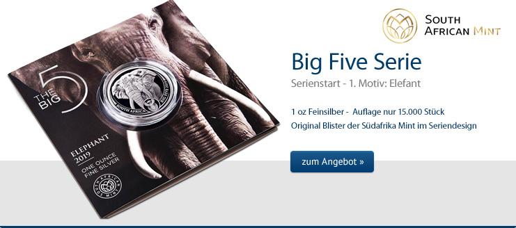 Big Five Elefant 1 oz Silber 2019 jetzt zum Angebotspreis kaufen
