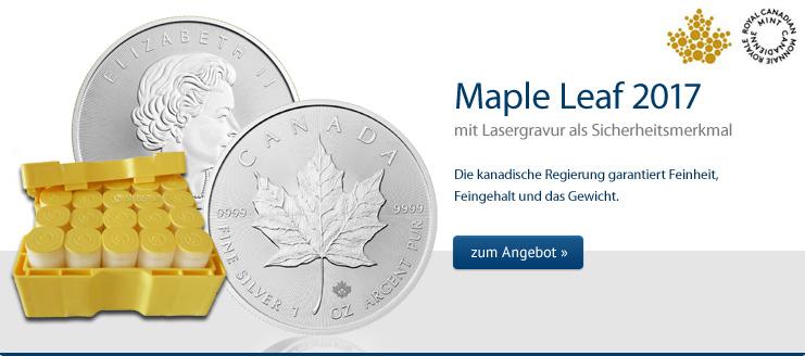 Silbermünze Maple Leaf Silber 2017 1 oz kaufen - Mit Lasergravuren als Echtheitsgarantie