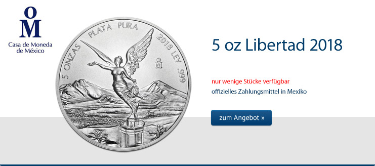 Libertad 5 oz Silber 2018  jetzt kaufen