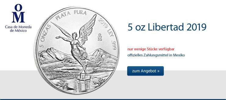 Libertad 5 oz Silber 2019  jetzt kaufen